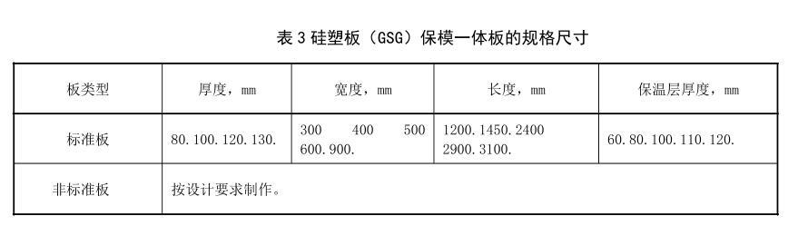 GSG硅塑板保模一体板的规格尺寸